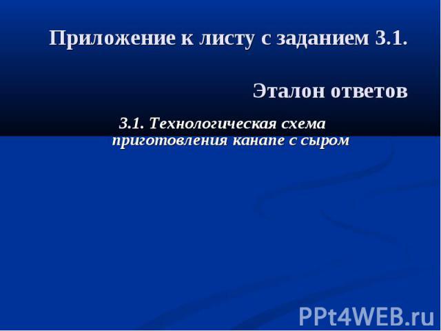 Приложение к листу с заданием 3.1. Эталон ответов 3.1. Технологическая схема приготовления канапе с сыром