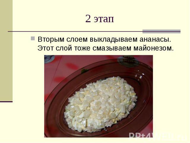 2 этап Вторым слоем выкладываем ананасы. Этот слой тоже смазываем майонезом.
