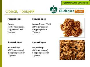 Орехи. Грецкий Грецкий орехВысший сорт, ГОСТ(85% половинок)Гофрокороб 9 кгУкраин