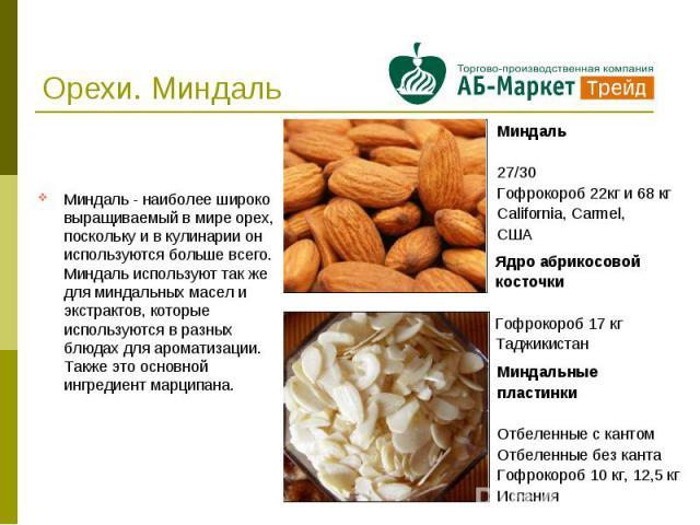 Орехи. Миндаль Миндаль - наиболее широко выращиваемый в мире орех, поскольку и в кулинарии он используются больше всего. Миндаль используют так же для миндальных масел и экстрактов, которые используются в разных блюдах для ароматизации. Также это ос…