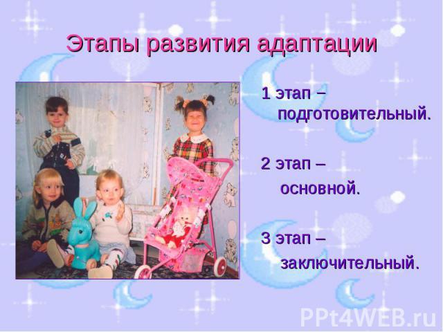 Этапы развития адаптации 1 этап − подготовительный.2 этап – основной.3 этап – заключительный.