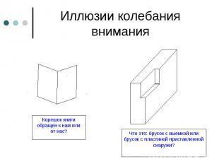 Иллюзии колебания внимания Корешок книги обращен к нам или от нас? Что это: брус