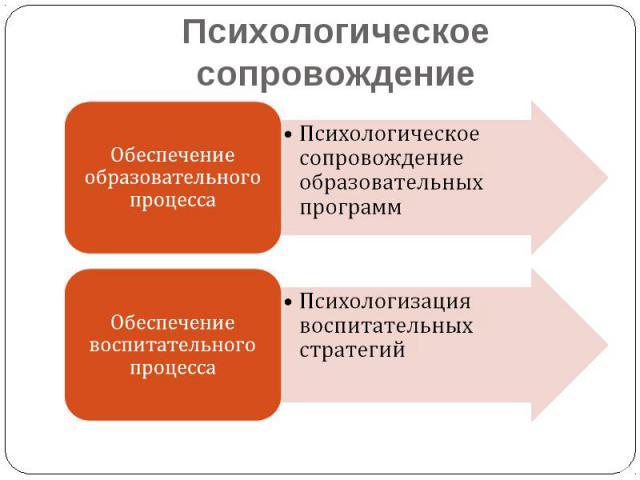 Психологическое сопровождение Обеспечение образовательного процессаПсихологическое сопровождение образовательных программОбеспечение воспитательного процессаПсихологизация воспитательных стратегий