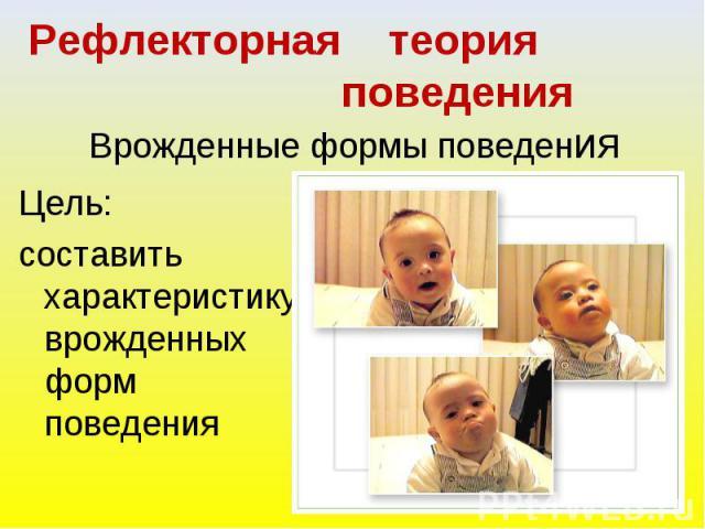 Рефлекторная теория поведения. Врожденные формы поведения Цель: составить характеристику врожденных форм поведения