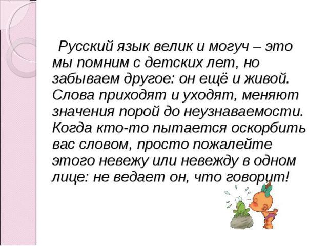 Русский язык велик и могуч – это мы помним с детских лет, но забываем другое: он ещё и живой. Слова приходят и уходят, меняют значения порой до неузнаваемости. Когда кто-то пытается оскорбить вас словом, просто пожалейте этого невежу или невежду в о…