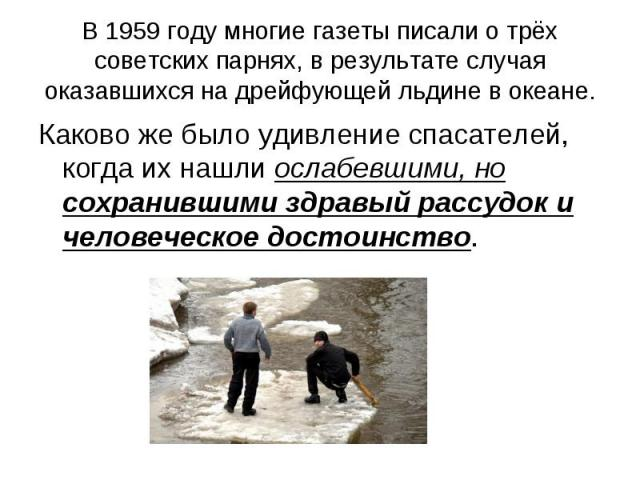 В 1959 году многие газеты писали о трёх советских парнях, в результате случая оказавшихся на дрейфующей льдине в океане. Каково же было удивление спасателей, когда их нашли ослабевшими, но сохранившими здравый рассудок и человеческое достоинство.