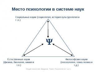 Место психологии в системе наук Социальные науки (социология, история культуроло
