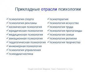 Прикладные отрасли психологии психология спортапсихология рекламыкосмическая пси