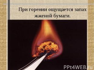 При горении ощущается запах жженой бумаги.
