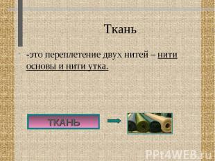 Ткань -это переплетение двух нитей – нити основы и нити утка.