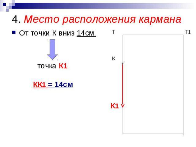 4. Место расположения кармана От точки К вниз 14см. точка К1 КК1 = 14см