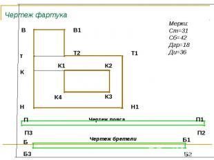 Чертеж фартука Мерки:Ст=31Сб=42Дгр=18Ди=36
