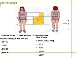 Снятие мерок 1-линия талии 2- линия бедер 3- линия колена Мерки на стандартную ф