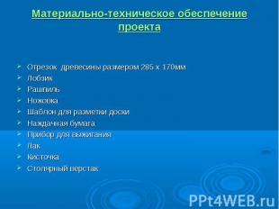 Материально-техническое обеспечение проекта Отрезок древесины размером 285 х 170