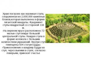 Храм построен как огромная ступа, сооруженная из 2,000,000 каменных блоков,котор