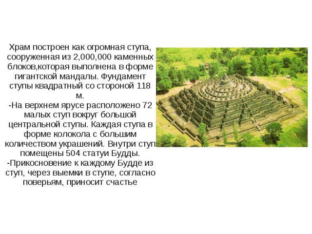 Храм построен как огромная ступа, сооруженная из 2,000,000 каменных блоков,которая выполнена в форме гигантской мандалы. Фундамент ступы квадратный со стороной 118 м.-На верхнем ярусе расположено 72 малых ступ вокруг большой центральной ступы. Кажда…
