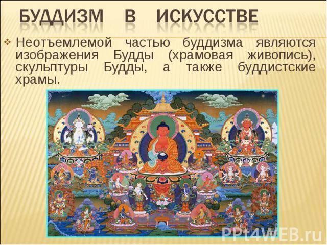 Буддизм в искусстве Неотъемлемой частью буддизма являются изображения Будды (храмовая живопись), скульптуры Будды, а также буддистские храмы.