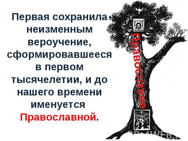 Первая сохранила неизменным вероучение, сформировавшееся в первом тысячелетии, и до нашего времени именуется Православной.