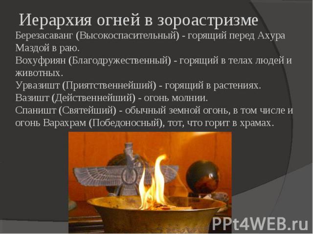 Березасаванг (Высокоспасительный) - горящий перед Ахура Маздой в раю.Вохуфриян (Благодружественный) - горящий в телах людей и животных.Урвазишт (Приятственнейший) - горящий в растениях.Вазишт (Действеннейший) - огонь молнии.Спаништ (Святейший) - обы…
