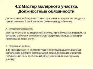 4.2Мастер малярного участка. Должностные обязанности Должность освобождённого м