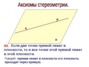 Аксиомы стереометрии. А2. Если две точки прямой лежат в плоскости, то и все точк