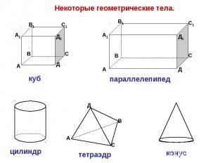 Некоторые геометрические тела. куб цилиндр параллелепипед тетраэдр