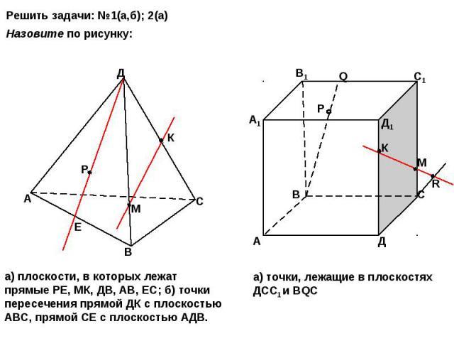 Решить задачи: №1(а,б); 2(а) Назовите по рисунку: а) плоскости, в которых лежат прямые РЕ, МК, ДВ, АВ, ЕС; б) точки пересечения прямой ДК с плоскостью АВС, прямой СЕ с плоскостью АДВ. а) точки, лежащие в плоскостях ДСС1 и ВQС