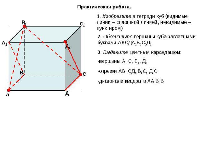 Практическая работа. 1. Изобразите в тетради куб (видимые линии – сплошной линией, невидимые – пунктиром). 2. Обозначьте вершины куба заглавными буквами АВСДА1В1С1Д1 3. Выделите цветным карандашом:вершины А, С, В1, Д1 отрезки АВ, СД, В1С, Д1Сдиагона…