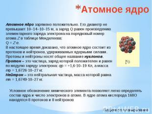 Атомное ядро Атомное ядро заряжено положительно. Его диаметр не превышает 10–14–