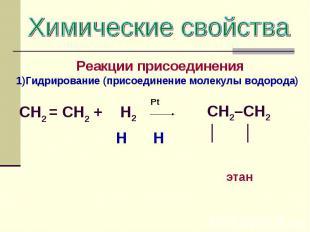 Химические свойства Реакции присоединения Гидрирование (присоединение молекулы в
