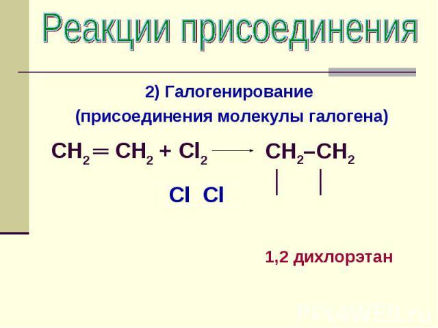 Реакции присоединения 2) Галогенирование (присоединения молекулы галогена) CH2 ═ CH2 + Cl2 CH2–CH2 │ │1,2 дихлорэтан
