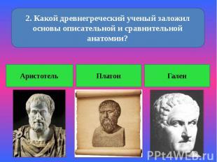 2. Какой древнегреческий ученый заложил основы описательной и сравнительной анат