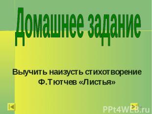 Домашнее задание Выучить наизусть стихотворение Ф.Тютчев «Листья»