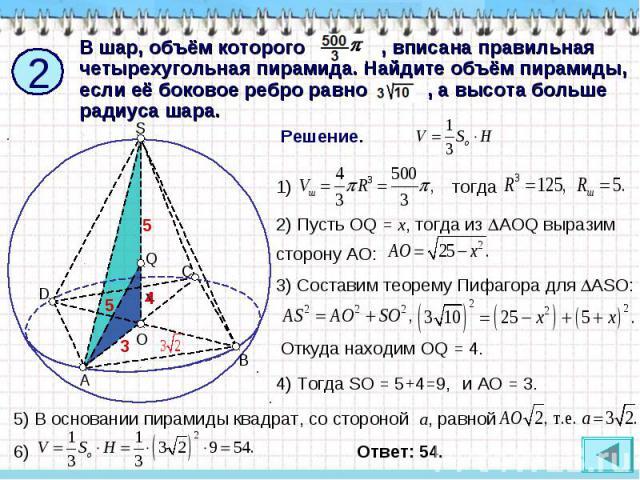 В шар, объём которого , вписана правильная четырехугольная пирамида. Найдите объём пирамиды, если её боковое ребро равно , а высота больше радиуса шара. Решение. 2) Пусть OQ = x, тогда из AOQ выразим сторону АО: 3) Составим теорему Пифагора для ASO:…
