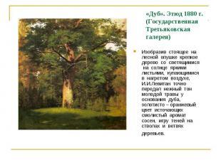 «Дуб». Этюд 1880 г. (Государственная Третьяковская галерея) Изобразив стоящее на