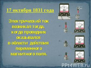 17 октября 1831 года Электрический ток возникал тогда, когда проводник оказывалс
