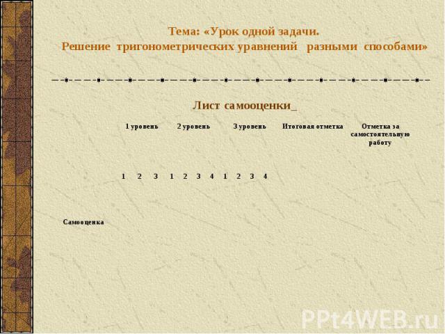 Тема: «Урок одной задачи. Решение тригонометрических уравнений разными способами»Лист самооценки