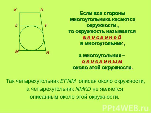 Если все стороны многоугольника касаются окружности ,то окружность называется в п и с а н н о й в многоугольник ,а многоугольник – о п и с а н н ы м около этой окружности. Так четырехугольник EFNM описан около окружности,а четырехугольник NMКD не яв…