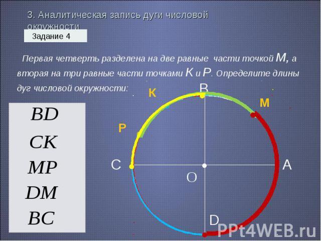 3. Аналитическая запись дуги числовой окружности Первая четверть разделена на две равные части точкой М, а вторая на три равные части точками К и Р. Определите длины дуг числовой окружности: