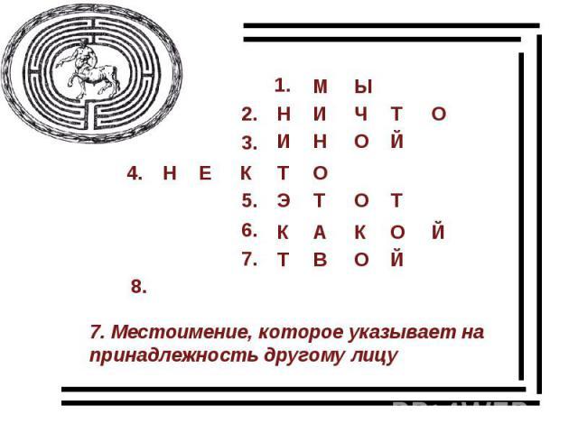 7. Местоимение, которое указывает на принадлежность другому лицу