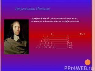 Треугольник ПаскаляАрифметический треугольник-таблица чисел, являющихся биномиал