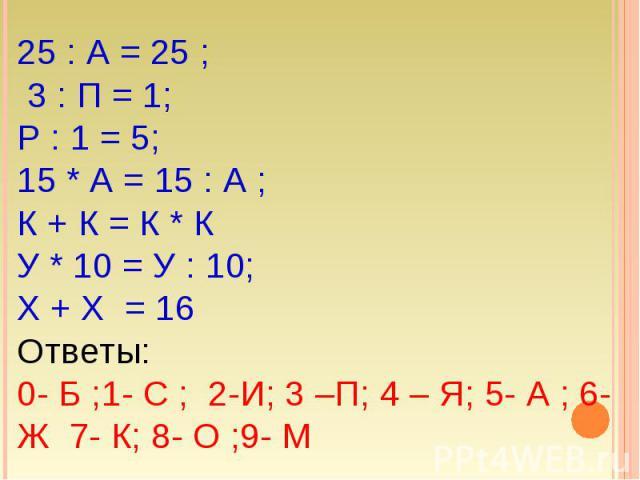 25 : А = 25 ; 3 : П = 1; Р : 1 = 5; 15 * А = 15 : А ; К + К = К * К У * 10 = У : 10; Х + Х = 16Ответы:0- Б ;1- С ; 2-И; 3 –П; 4 – Я; 5- А ; 6- Ж 7- К; 8- О ;9- М