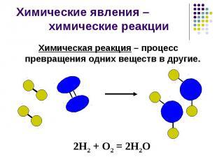 Химические явления – химические реакции Химическая реакция – процесс превращения