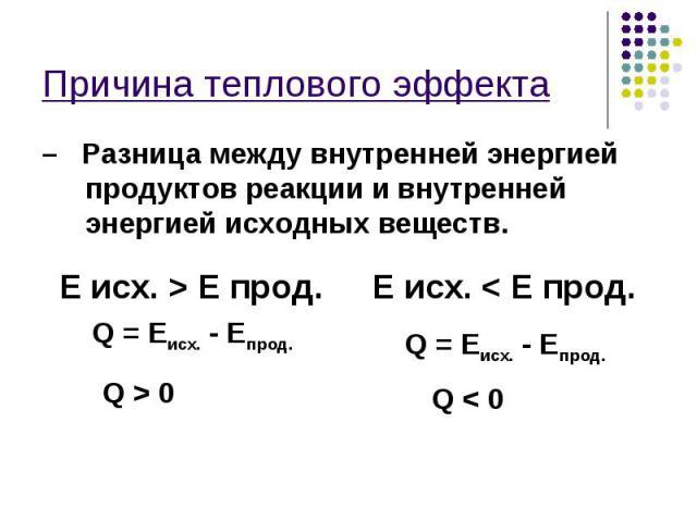 Причина теплового эффекта – Разница между внутренней энергией продуктов реакции и внутренней энергией исходных веществ. E исх. > E прод. Q = Eисх. - Eпрод. Q > 0 E исх. < E прод. Q = Eисх. - Eпрод. Q < 0