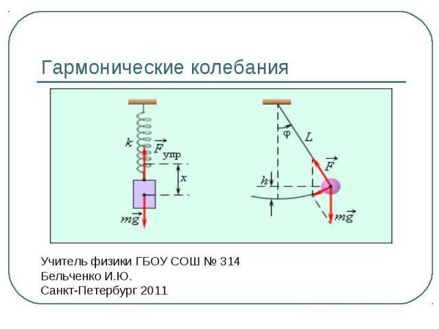 Гармонические колебания Учитель физики ГБОУ СОШ № 314Бельченко И.Ю.Санкт-Петербург 2011