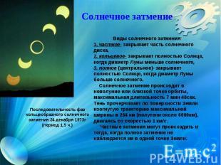 Солнечное затмение Виды солнечного затмения: 1. частное- закрывает часть солнеч