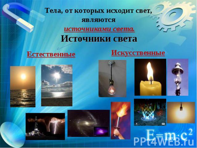 Тела, от которых исходит свет, являются источниками света. Источники света Естественные Искусственные