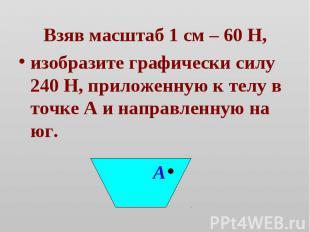 Взяв масштаб 1 см – 60 Н,изобразите графически силу 240 Н, приложенную к телу в