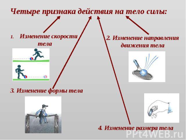 Четыре признака действия на тело силы: Изменение скорости тела 2. Изменение направления движения тела 3. Изменение формы тела 4. Изменение размера тела