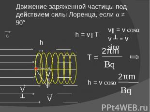 Движение заряженной частицы под действием силы Лоренца, если α ≠ 90° v║ = v cosα